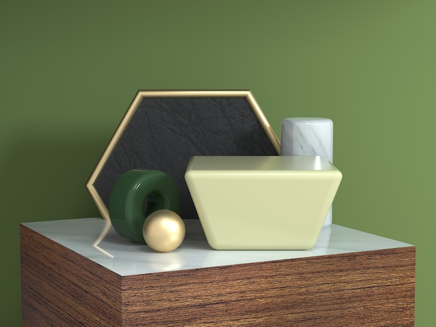 Madeira marrom textura quadrado pódio resumo forma geométrica ainda vida conjunto 3d renderização hexágono moldura de ouro amarelo quadrado