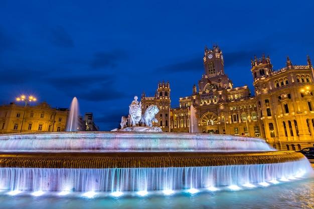 Madrid, praça, de, cibeles, em, twilifht, espanha