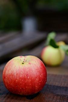 Maduras lindas maçãs em um fundo de madeira. colheita de outono