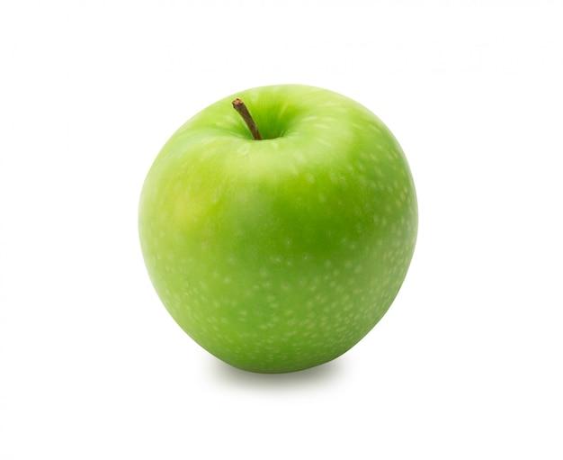 Maduras maçãs verdes inteiras, isoladas no fundo branco com traçado de recorte