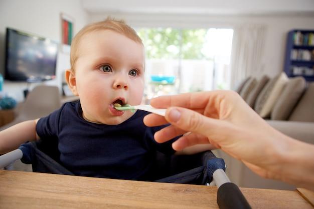 Mãe, alimentação, bebê, com, colher, casa