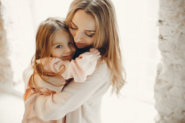 Mãe, com, criança pequena, em, hme