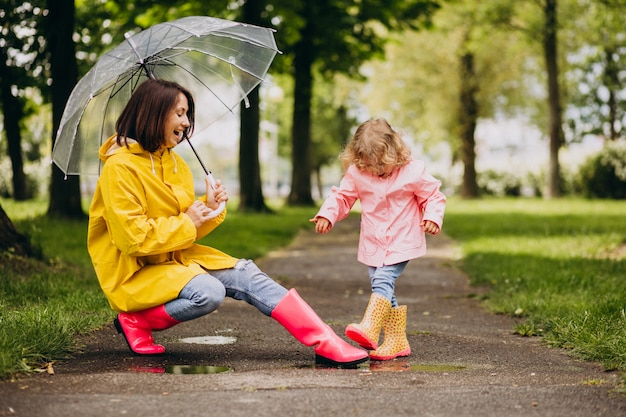Mãe com filha caminhando na chuva sob o guarda-chuva