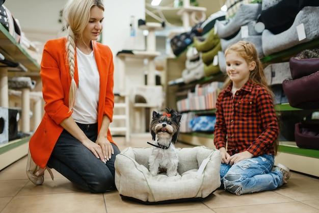 Mãe com filha, escolhendo a cama do cão para o cachorrinho na loja de animais. mulher e criança comprando equipamentos em petshop, acessórios para animais domésticos