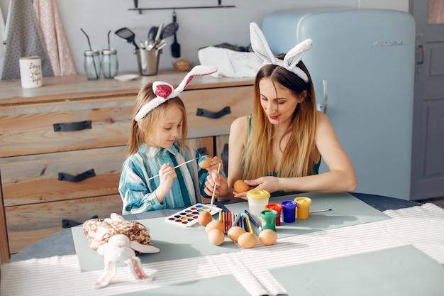 Mãe, com, filha pequena, em, um, cozinha