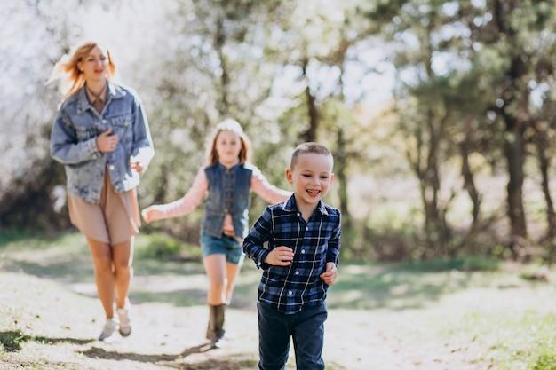 Mãe com filho e filha juntos no parque