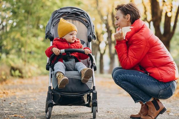 Mãe com filho pequeno no carrinho de bebê caminhando no parque outonal