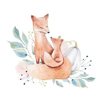 Mãe e bebê raposas