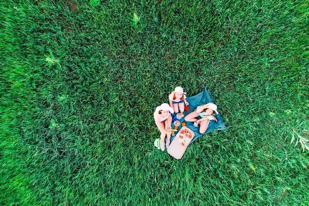 Mãe e duas filhas fazem piquenique com pizza em uma vista aérea de grama verde