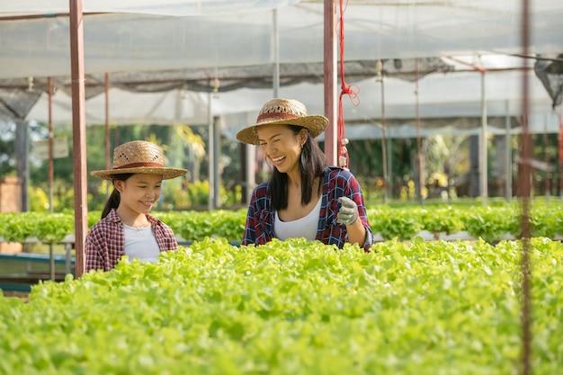 Mãe e filha asiáticas estão ajudando juntas a coletar vegetais hidropônicos frescos na fazenda, jardinagem conceitual e educação infantil de agricultura doméstica no estilo de vida familiar.