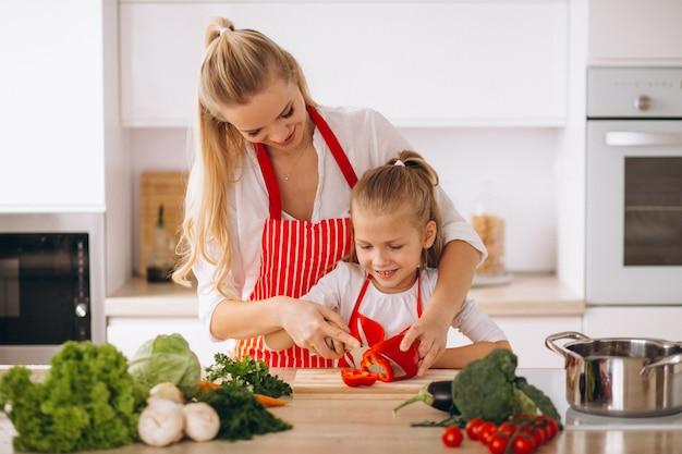 Mãe e filha cozinhar na cozinha