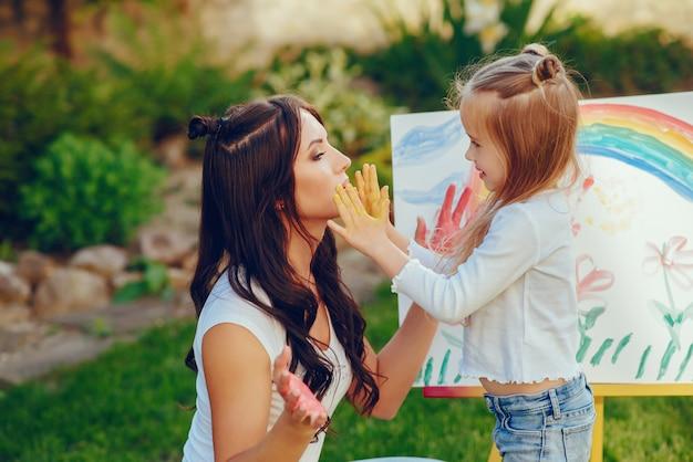 Mãe e filha de desenho