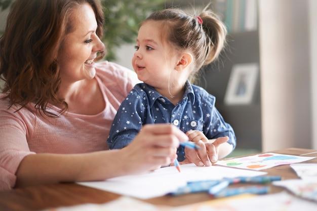 Mãe e filha desenhando em um papel branco