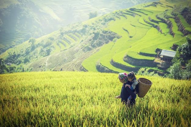 Mãe e filha em terraços de arroz, tu le lao cai, vietnã