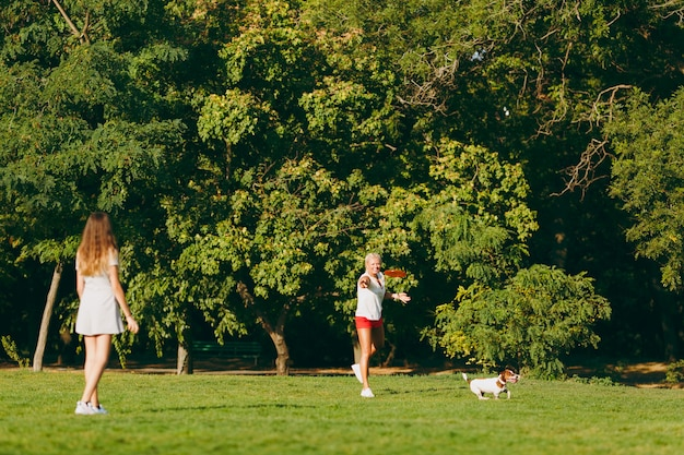 Mãe e filha jogando laranja disco voador para o pequeno cachorro engraçado, que pegá-lo na grama verde. pequeno animal de estimação jack russel terrier brincando ao ar livre no parque. cachorro e mulheres. família descansando ao ar livre