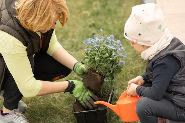 Mãe e filha passam um tempo juntas na frente ou no quintal da casa plantando flores, a menina rega miosótis com regador