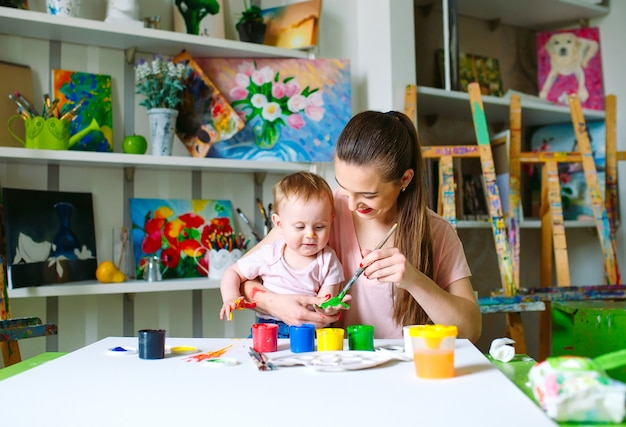 Mãe e filha pintam sobre tela na escola de desenho.
