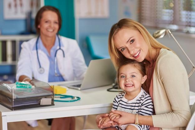 Mãe e filha visitando o médico