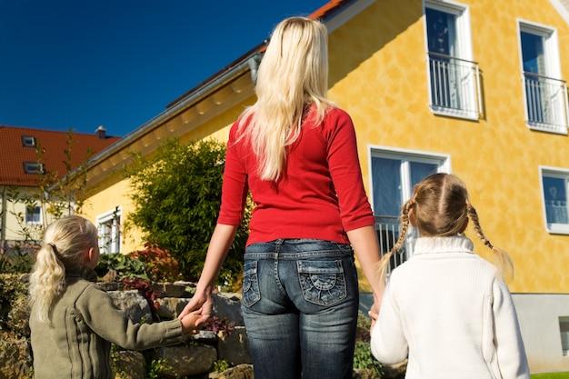 Mãe e filhas olhando para sua casa