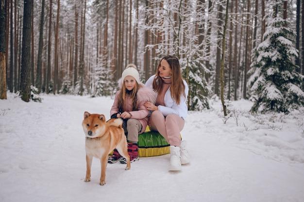 Mãe feliz e uma garotinha linda em uma roupa rosa quente caminhando se divertindo em um tubo de neve inflável com um cachorro shiba inu vermelho em uma floresta de inverno frio branco nevado ao ar livre