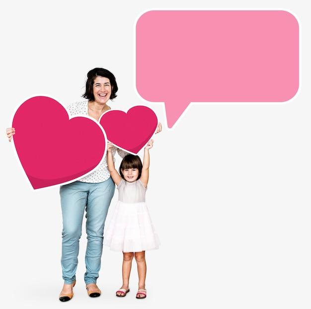 Mãe filha, com, um, conversa bolha