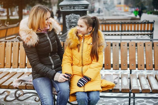 Mãe filha, em, um, parque