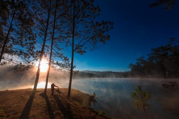 Mãe filha, sob, a, floresta pinho, ligado, manhã, tempo