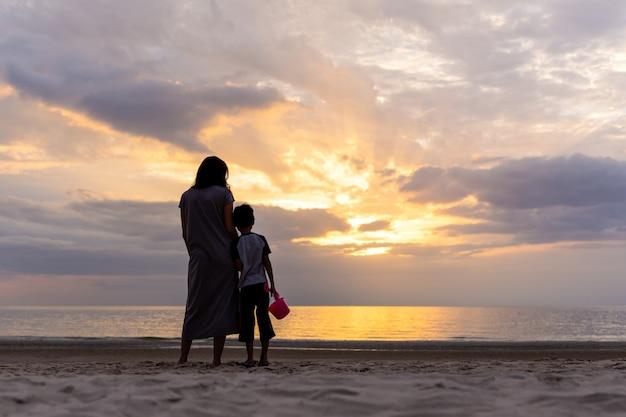 Mãe filho, ficar, praia, observar, pôr do sol