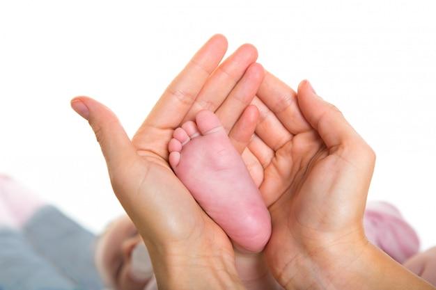 Mãe, mãos, segurando, bebê, pés nus, branco