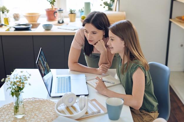 Mãe observando como a filha está trabalhando com outros alunos no chat de vídeo em grupo com a professora