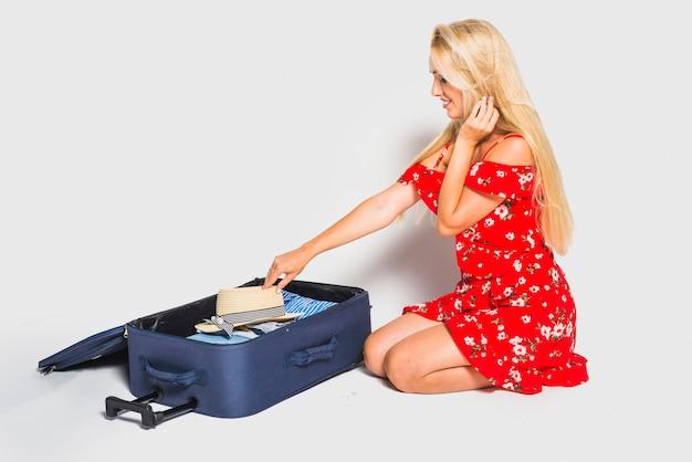 Mãe, preparar, bagagem