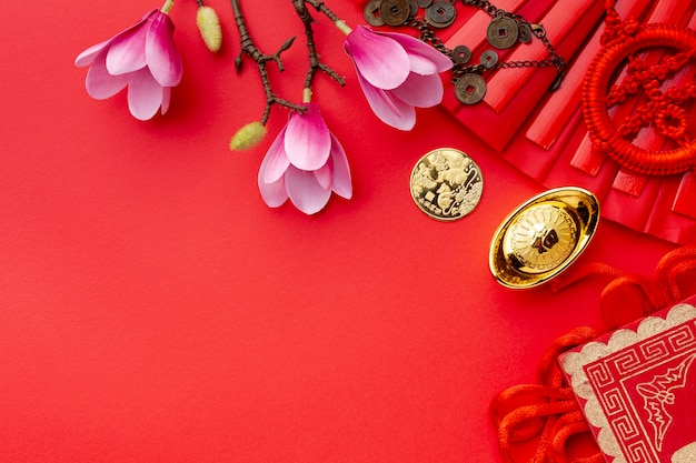 Magnólia e ano novo chinês de moeda de ouro