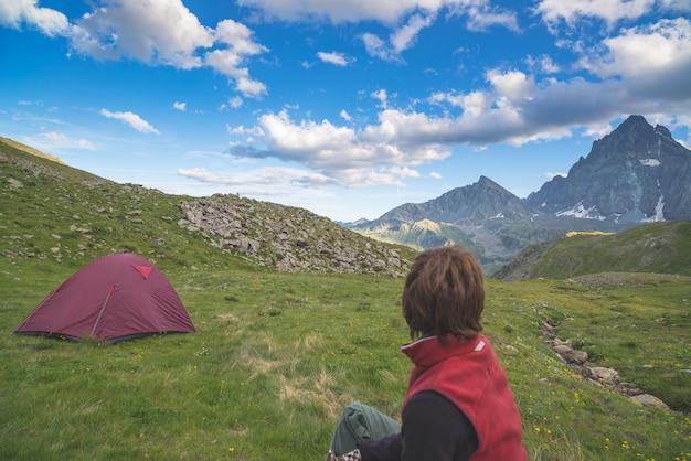 Majestosa, vista, de, montanha, picos, em, pôr do sol, alto, ligado, a, alpes