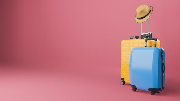 Mala amarela e azul com chapéu de sol e óculos, câmera, conceito de viagens