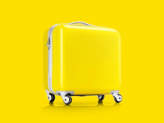 Mala amarela ou bagagem para viajante