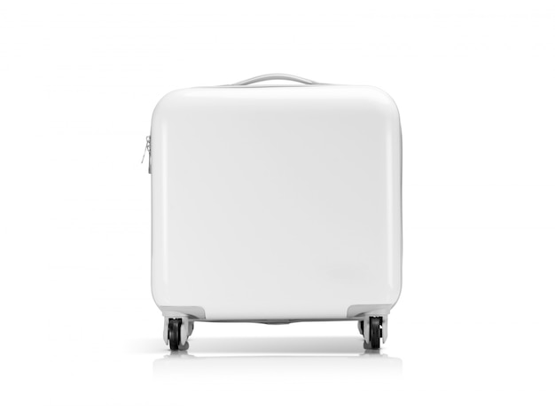 Mala branca de plástico ou bagagem isolado no branco