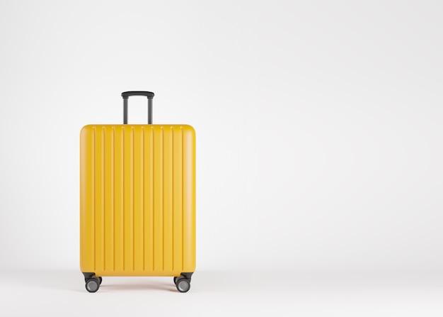 Mala de plástico amarela de luxo sobre fundo branco com espaço de cópia. conceito de férias de férias de viagem. ilustração 3d render