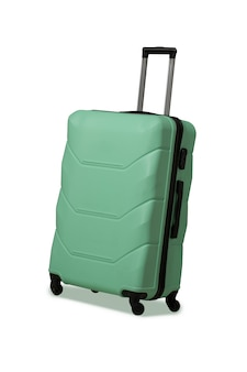 Mala de plástico com rodas e alça telescópica retrátil. mala verde clara ou bolsa grande para malas de viagem. conceito de viagem. cortar em fundo branco
