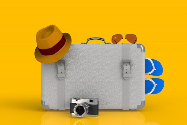Mala de um viajante com chapéu de palha e câmera de foto de filme retrô