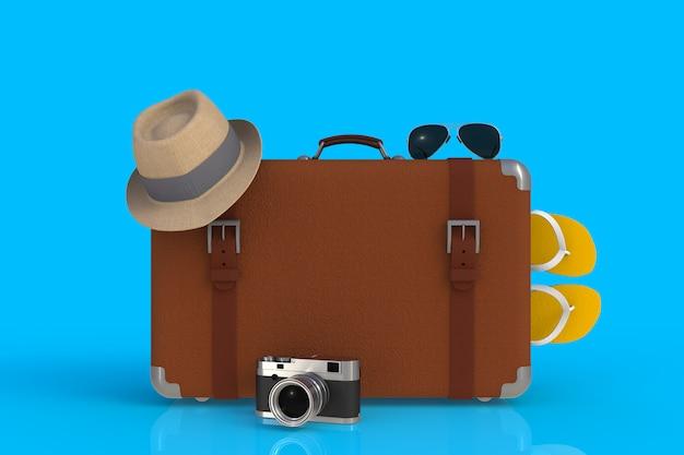 Mala de um viajante com chapéu de palha e câmera fotográfica de filme retrô, renderização em 3d