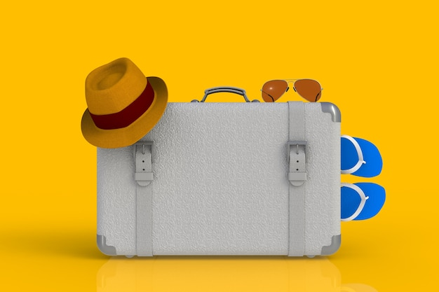 Mala de um viajante com chapéu de palha e óculos de sol, isolados no fundo amarelo