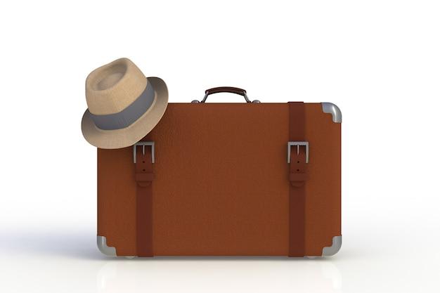 Mala de um viajante com chapéu de palha isolado no fundo branco, renderização em 3d