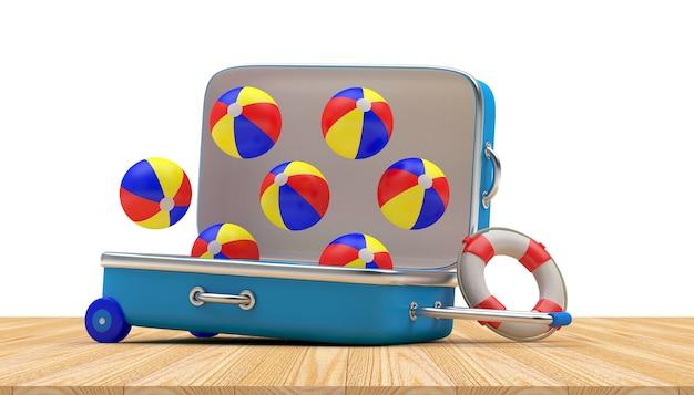 Mala de viagem aberta com bolas coloridas voando