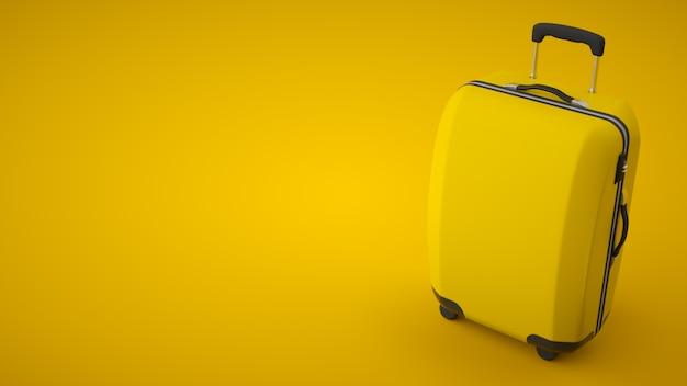 Mala de viagem amarela isolada na parede brilhante. copie o espaço. renderização em 3d