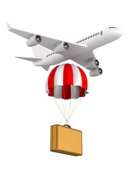 Mala de viagem com pára-quedas e avião no espaço em branco