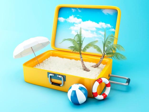 Mala de viagem conceito de férias de praia