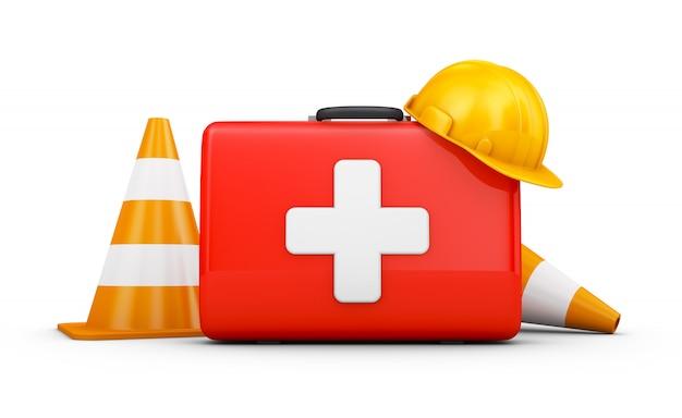 Mala vermelha com cruz branca, capacete e cones de trânsito. 3d render
