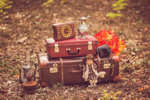 Malas antigas, relógios, boneca, lâmpada de querosene, jarros, folhas de outono, câmera fotográfica em uma caixa no parque