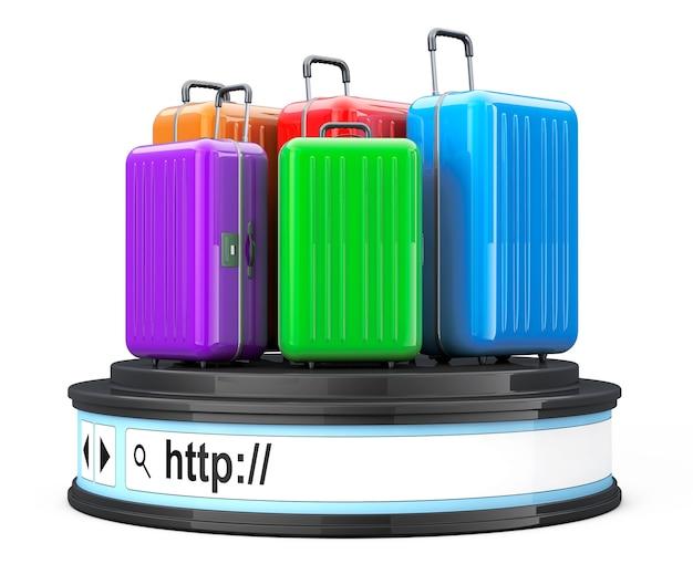 Malas sobre a barra de endereços do navegador como pedestal redondo de plataforma em um fundo branco. renderização 3d