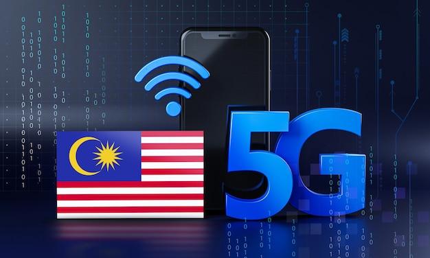 Malásia pronta para o conceito de conexão 5g. fundo de tecnologia de smartphone de renderização 3d